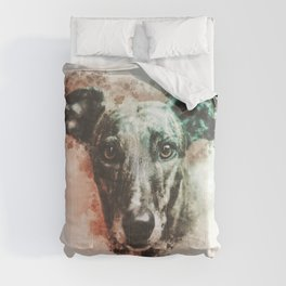 Greyhound Digital Watercolor Painting Comforters