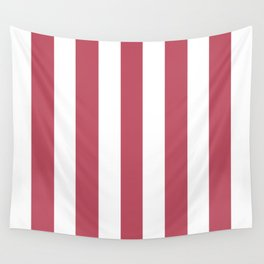 Popstar pink - solid color - white vertical lines pattern Wall Tapestry