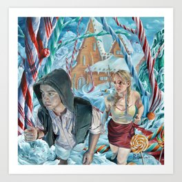 Escape from Temptation, oil painting portrait of Hansel and Gretel in Candy Land Art Print