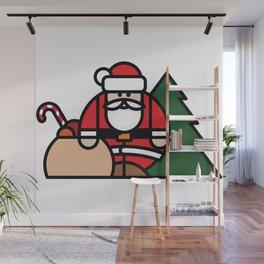 Santa Claus, bag of toys and Christmas tree Wall Mural