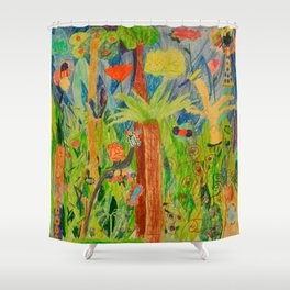 Paradise Delight | Kids Painting by Elisavet Shower Curtain