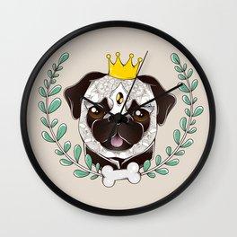 King of Pug Wall Clock
