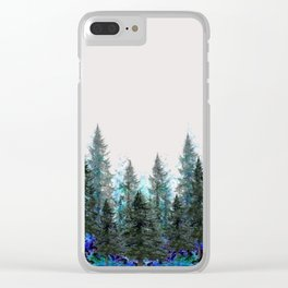 MOUNTAIN FOREST PINES LANDSCAPE  ART Clear iPhone Case