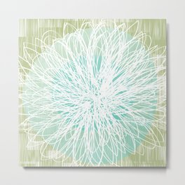 Doodle Flowers in Mint by Friztin Metal Print