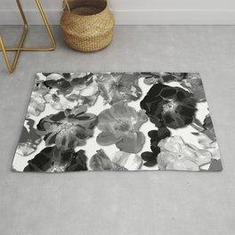 Large Rose Pattern - Black White Rug