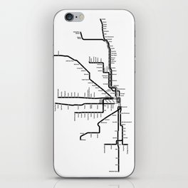 Chicago CTA Map, Chicago Map Art, CTA Art, Chicago Wall Art, Chicago Art, L Train, Art Print iPhone Skin