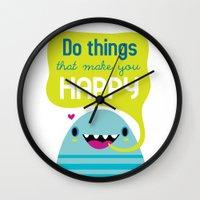 be happy Wall Clocks featuring Happy by Maria Jose Da Luz