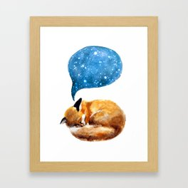 Watercolor sleeping fox with starry sky Framed Art Print