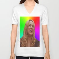 jennifer lawrence V-neck T-shirts featuring Jennifer Lawrence Rainbow Derp by dashingfoxx