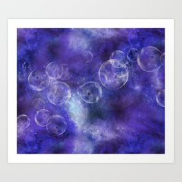Space Universe with surreal soap bubbles Art Print
