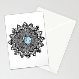 Blue Moon Flower Mandala Stationery Cards