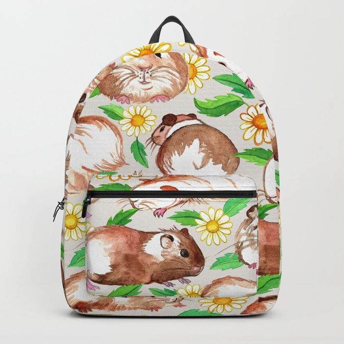 Guinea Pigs and Daisies in Watercolor Backpack
