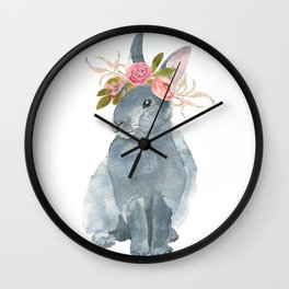 bunny with flower crown Wall Clock