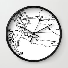 Narwal and Velociraptor Fighting over Bacon Wall Clock