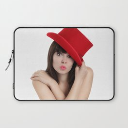 surprised woman with red top hat isolated on white background Laptop Sleeve