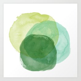 Abstract Organic Watercolor Shapes Painting in Green Kunstdrucke