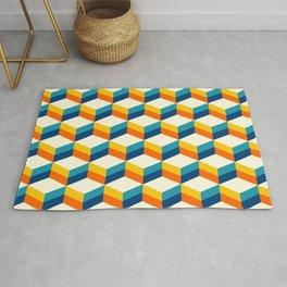 Retro 3D striped cubes pattern teal & orange Rug