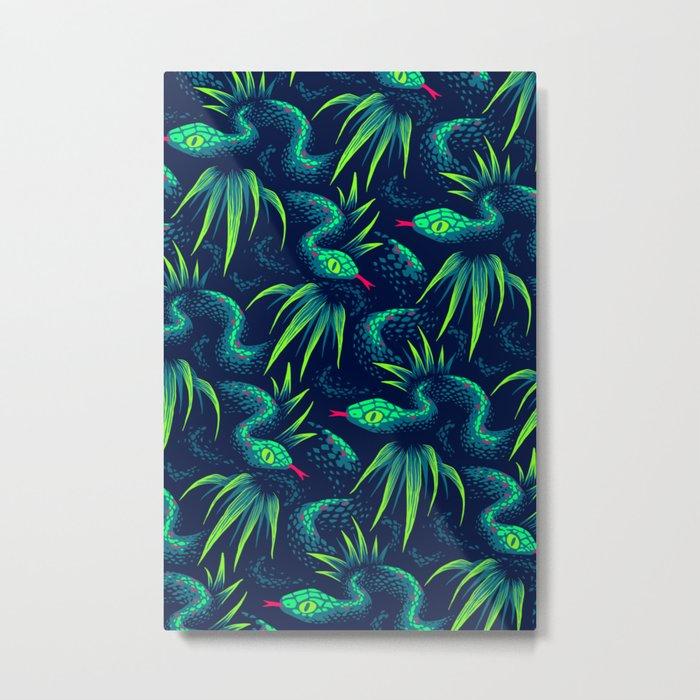 Mr Snake in the Rainforest - Green Metal Print