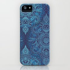 Aqua, Cobalt Blue & Purple Protea Doodle Pattern iPhone (5, 5s) Slim Case
