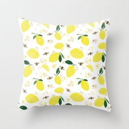 Lemons Blossoms and Bees Pattern Throw Pillow