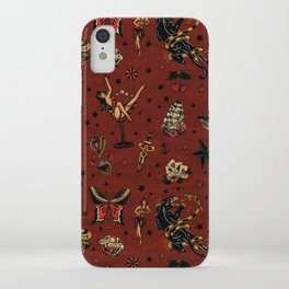 Retro tattoo, sailor tattoos, pin up, rockabilly red iPhone Case