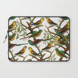 Colorful red green tropical birds parakeets pattern Laptop Sleeve