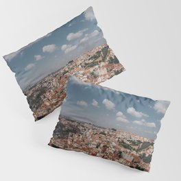 Beautiful city of Malaga, Spain | Blue sky, clouds and view | Colourful travel photography art | Wall art Print Pillow Sham