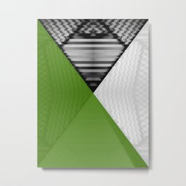 Black White and Grassy Green Metal Print
