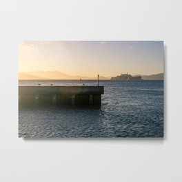 Do seagulls admire the sunset? Metal Print