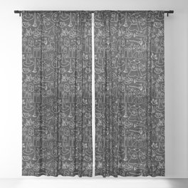 Cats and Ghosts-Black and White Sheer Curtain