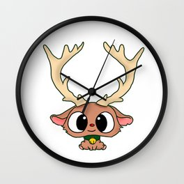 Rudolph The Red Nose Reindeer Cute Baby Rudolph Christmas Wall Clock