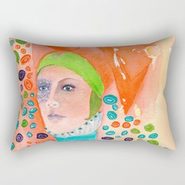 Long Neck Orange Lady Rectangular Pillow