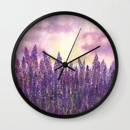 Lavender Field At Dusk Wall Clock