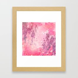 Abstract pink glitter watercolor painting Framed Art Print