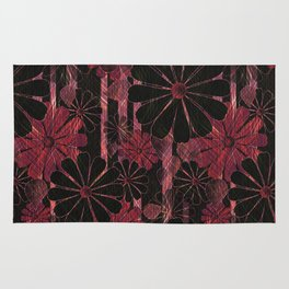 Floral pattern. Stylized black, red flowers . Rug