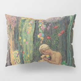 'A Man and a Woman in the Forest with Angels' Floral Landscape by Charles Holloway Pillow Sham