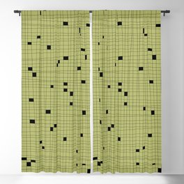 Light Green and Black Grid - Missing Pieces Blackout Curtain