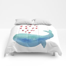 Loving whale Comforters