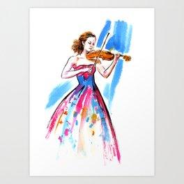 Girl playing the violin Kunstdrucke