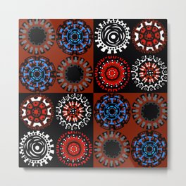 Sixteen Flowers In Four Squares Metal Print