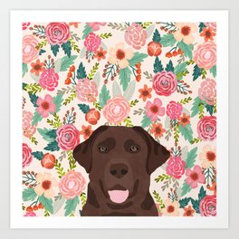 Chocolate Lab floral dog head cute labrador retriever must have pure breed dog gifts Art Print