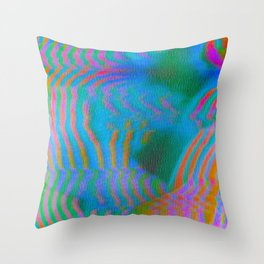 Analogue Glitch Electric Gradient Waves Throw Pillow