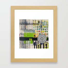 Lime & Navy Abstract Art Collage Framed Art Print