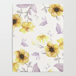 FLOWERS WATERCOLOR 27 Poster