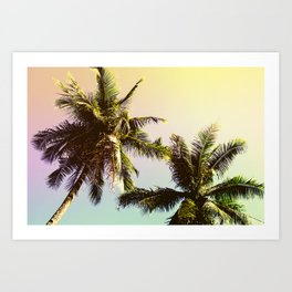 Yellow Blue Tropical Sky with Coco Palm Trees Art Print