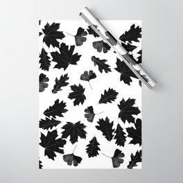 Falling Autumn Leaves in Black and White Wrapping Paper