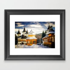 Winter at Slatioara Monastery, Moldova, Romania Framed Art Print