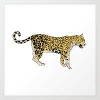 jaguar Art Prints featuring Jaguar by Keen of Beasts