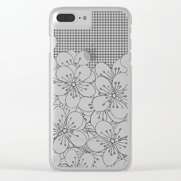 Cherry Blossom Grid Black Clear iPhone Case