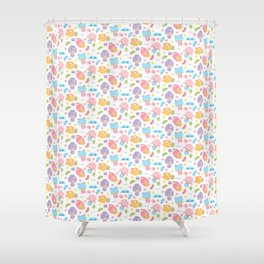 Kawaii Kokeshi J-Pop!  (Pastel) Shower Curtain